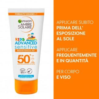 Garnier Ambre Solaire Kids Advanced Sensitive IP 50+ Protezione Molto Alta Bimbi Resistente all'Acqua - Tubetto da 50ml