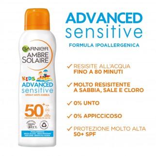 Garnier Ambre Solaire Kids Advanced Sensitive SPF 50+ Spray Anti Sabbia Protezione Molto Alta Bimbi - Flacone da 200ml