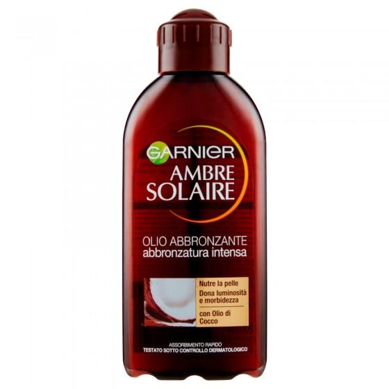 Garnier Ambre Solaire Olio Abbronzante Abbronzatura Intensa ad Assorbimento Rapido con Olio di Cocco - Flacone da 200ml