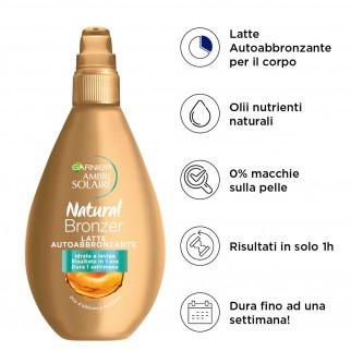 Garnier Ambre Solaire Natural Bronzer Latte Autoabbronzante con Olio di Albicocca - Flacone da 150ml