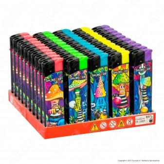 SmokeTrip Accendini Elettronici Ricaricabili Fantasia Prisoned Mushrooms - Box da 50 Accendini