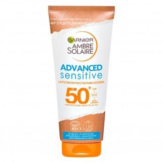 Garnier Ambre Solaire Advanced Sensitive SPF 50+ Protezione Molto Alta Texture Leggera Senza Profumo - Tubetto da 200ml