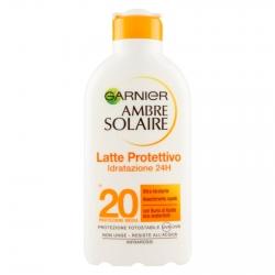 Garnier Ambre Solaire Latte Protettivo Idratazione 24h SPF 20 Protezione Media con Burro di Karitè - Flacone da 200ml