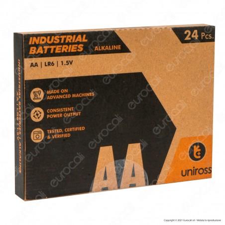 Uniross Pile Alcaline Industrial AA / LR6 / Stilo / 1,5V - Box da 24 Batterie
