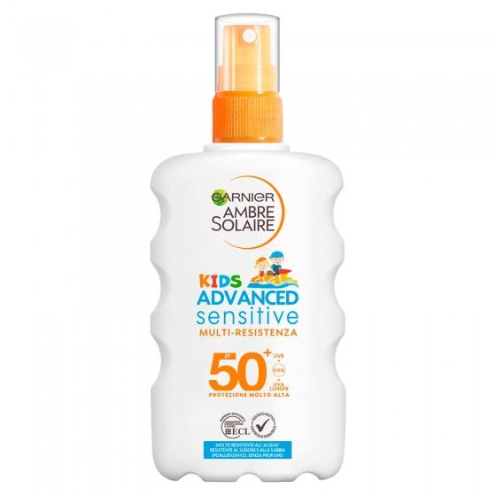 Garnier Ambre Solaire Kids Advanced Sensitive SPF 50+ Spray Multi Resistente Protezione Molto Alta Bimbi - Flacone da 200ml