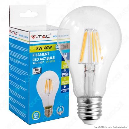 V-Tac VT-1978 Lampadina LED E27 8W Bulb A67 Filamento - SKU 4407 / 4408 / 4409