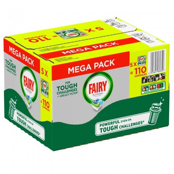 Fairy Platinum Regular Tutto in Uno Pastiglie Per Lavastoviglie - Confezione da 110 pastiglie
