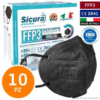 Sicura Protection 10 Mascherine Protettive Colore Nero Elastici Neri Filtranti Monouso Classe Protezione FFP3 TNT Multistrato