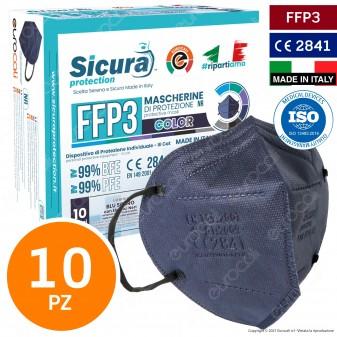 Sicura Protection 10 Mascherine Protettive Colore Blu Elastici Neri Filtranti Monouso Classe Protezione FFP3 TNT Multistrato