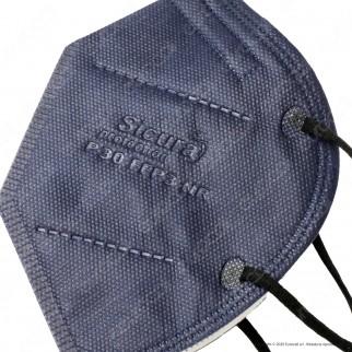 Sicura Protection 50 Mascherine Protettive Colore Blu Elastici Neri Filtranti Monouso Classe Protezione FFP3 TNT Multistrato