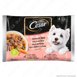 Cesar Selezione in Salsa Cibo per Cani con Pollo e Manzo - 4 Buste da 100g