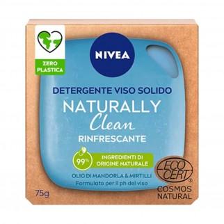 Nivea Naturally Clean Saponetta Detergente Viso Rinfrescante con Olio di Mandorla e Mirtilli