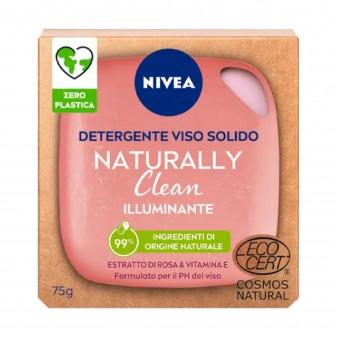 Nivea Naturally Clean Saponetta Detergente Viso illuminante con Estratto di Rosa e Vitamina E