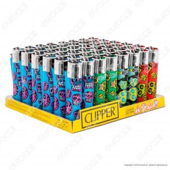 Clipper Large Fantasia Fluo Skulls - Box da 48 Accendini