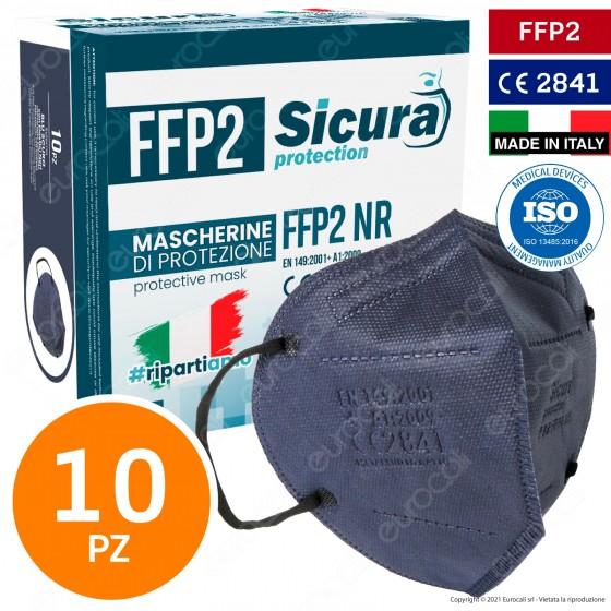 Sicura Protection 10 Mascherine Protettive Colore Blu Elastici Neri Fattore Protezione Certificato FFP2 NR in TNT
