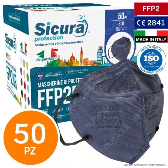 Sicura Protection 50 Mascherine Protettive Colore Blu Elastici Neri Fattore Protezione Certificato FFP2 NR in TNT