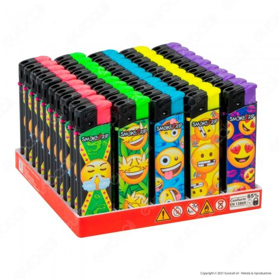 SmokeTrip Accendini Elettronici Ricaricabili Fantasia Emoticon - Box da 50 Accendini