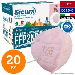 Sicura Protection 20 Mascherine Protettive Colore Rosa Monouso con Fattore di Protezione Certificato FFP2 NR in TNT