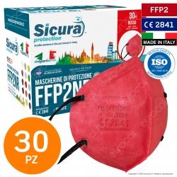 Sicura Protection 30 Mascherine Protettive Colore Rosso Elastici Neri Monouso Fattore Protezione Certificato FFP2 NR in TNT