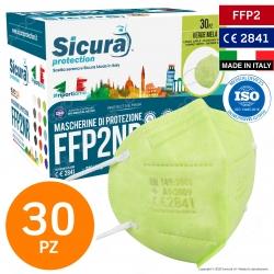 Sicura Protection 30 Mascherine Protettive Colore Verde Mela Monouso con Fattore Protezione Certificato FFP2 NR in TNT