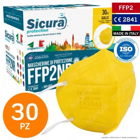 Sicura Protection 30 Mascherine Protettive Colore Giallo Monouso con Fattore di Protezione Certificato FFP2 NR in TNT