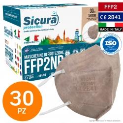 Sicura Protection 30 Mascherine Protettive Colore Tortora Monouso con Fattore di Protezione Certificato FFP2 NR in TNT