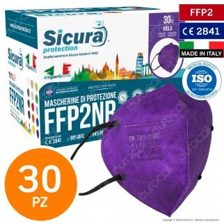 Sicura Protection 30 Mascherine Protettive Colore Viola Monouso con Fattore di Protezione Certificato FFP2 NR in TNT