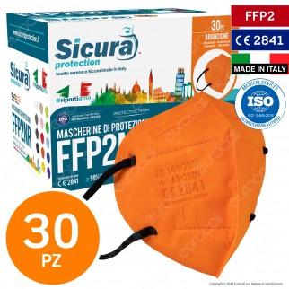 Sicura Protection 30 Mascherine Protettive Colore Arancione Elastici Neri Monouso Fattore Protezione Certificato FFP2 NR in TNT