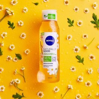 Nivea Naturally Good Detergente Doccia Olio in Gel alla Camomilla e Olio di Argan Bio - Flacone da 300 ml