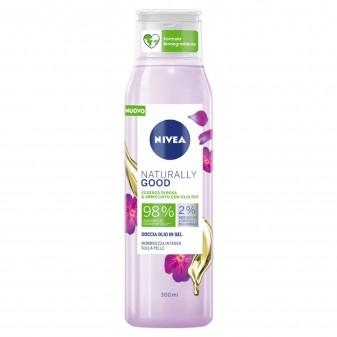 Nivea Naturally Good Detergente Doccia Olio in Gel alla Rosa e Olio di Argan Bio - Flacone da 300 ml