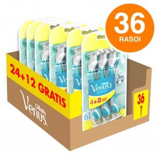 Gillette Venus Sensitive 3 Rasoio Donna Usa e Getta per Pelli Sensibili - Confezione con 36 Rasoi