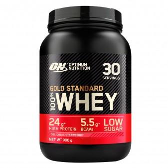Optimum Nutrition Gold Standard 100% Whey Proteine Aminoacidi in Polvere Gusto Fragola - Barattolo da 900g