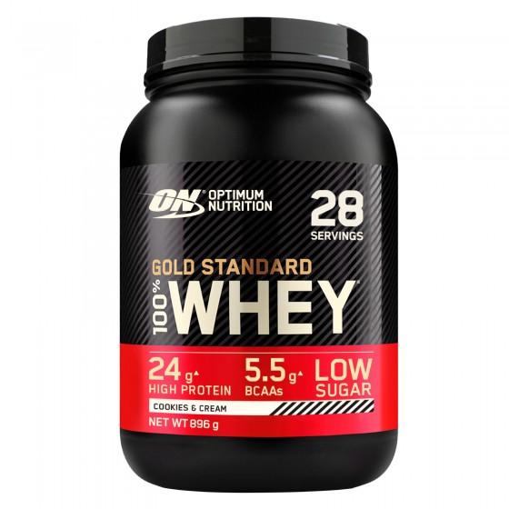 Optimum Nutrition Gold Standard 100% Whey Proteine Aminoacidi in Polvere Gusto Biscotti e Panna - Barattolo da 896g