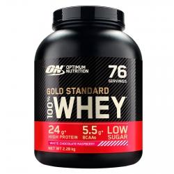 Optimum Nutrition Gold Standard 100% Whey Proteine Isolate Polvere Aminoacidi Cioccolato Bianco Lampone - Barattolo da 2,28kg