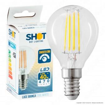 Bot Lighting Shot Lampadina LED E14 4,5W MiniGlobo P45 Filamento Dimmerabile - mod. WLD3004X2D / WLD3004X3D