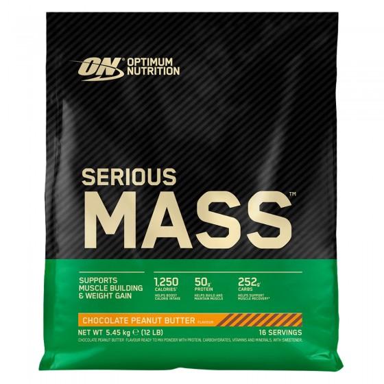 Optimum Nutrition Serious Mass Proteine Whey in Polvere per Sviluppo Muscolare Cioccolato Burro Arachidi - Busta da 5,45Kg