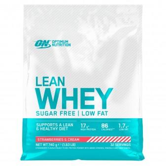 Optimum Nutrition Lean Whey Proteine Siero del Latte Basso Contenuto Grassi con Vitamine Gusto Panna e Fragola - Busta da 740g