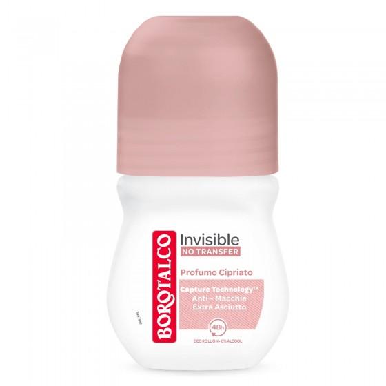 Borotalco Deodorante Roll On Invisible No Transfer con Microtalco - Flacone da 50ml