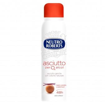 Neutro Roberts Asciutto Zero Alcol Deodorante Spray Profumo Legno Sandalo e Patchouli - Flacone da 150ml