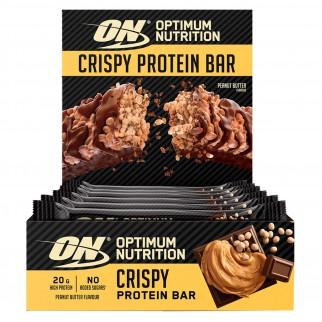 Optimum Nutrition Crispy Protein Bar Barretta Proteica al Burro di Arachidi - Confezione da 10 Barrette da 65g
