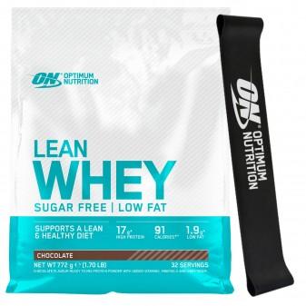 Optimum Nutrition Lean Whey Proteine del Siero del Latte in Polvere Gusto Cioccolato con Resistance Band - Busta da 772g