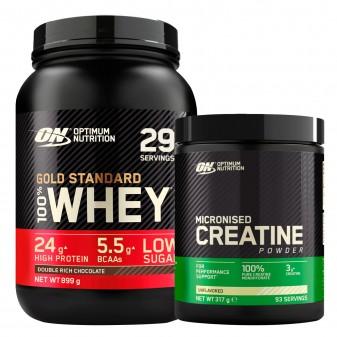 Optimum Nutrition Proteine Whey e Creatina Gold Standard 100% Whey Doppio Cioccolato 899g e Micronised Creatine 317g