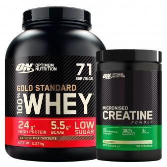 Optimum Nutrition Proteine Whey e Creatina Polvere Gold Standard 100% Whey Cioccolato al Latte 2,27kg Micronised Creatine 634g