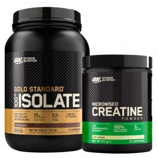 Optimum Nutrition Proteine e Creatina in Polvere Gold Standard 100% Isolate Cioccolato 930g e Micronised Creatine 317g