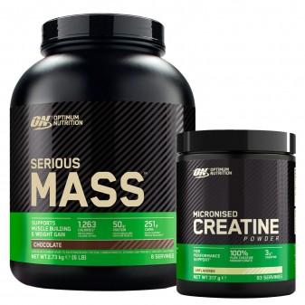 Optimum Nutrition Proteine Calorie e Creatina Serious Mass Cioccolato 2,73Kg e Micronised Creatine 317g