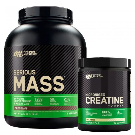 Optimum Nutrition Proteine Calorie e Creatina in Polvere Serious Mass Cioccolato 2,73Kg e Micronised Creatine 317g