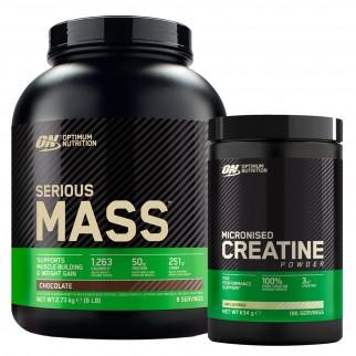 Optimum Nutrition Proteine Calorie e Creatina in Polvere Serious Mass Cioccolato 2,73Kg e Micronised Creatine 634g
