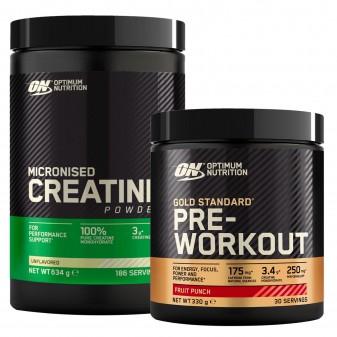 Optimum Nutrition Caffeina e Creatina Gold Standard Pre-Workout Frutta Mista 330g e Micronised Creatine 634g