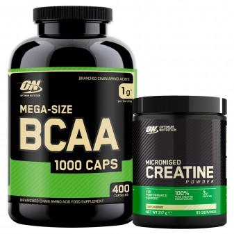 Optimum Nutrition Aminoacidi e Creatina Mega-Size BCAA 1000 Caps 400 Capsule e Micronised Creatine i Polvere 317g