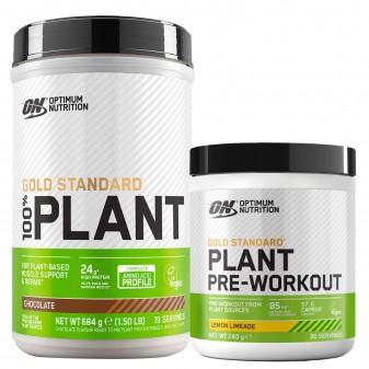 Optimum Nutrition Caffeina e Proteine Vegane Gold Standard 100% Plant Cioccolato 684g e Pre-workout Limone Lime 240g